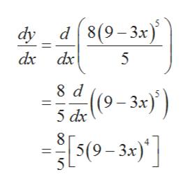 d8(9-3x dy dx dx 8 d (9-3x) 5 dx 8 |5(9-3х) 5