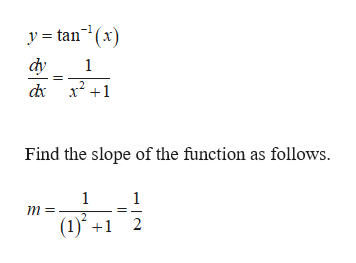 y tan(x) dy 1 Find the slope of the function as follows. 1 1 (1) 2