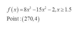 f(x)=8x -15x2 -2, x21.5 Point: (270,4)