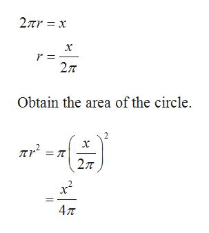 2r x х 2л Obtain the area of the circle. 2. х = T 2л 47T