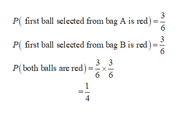 3 P(first ball selected from bag A is red) 6 3 P( first ball selected from bag B is red) 6 3 3 P(both balls are red) 6 6 4 X