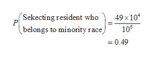 'Sekecting resident who P belongs to minority race) 49x104 106 0.49