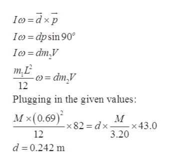 Io dxp Ico dpsin 90 Io=dm,V т.L -)= dm,V 12 Plugging in the given values: Мx(0.69)* М -x 43 .0 = dx -x 82 12 3.20 d 0.242 m