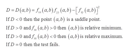 (a,b) S,, (a,b)-(a.b) D D(a,b) XX If D <0 then the point (a,b) is a saddle point If D 0 andf(a,b) 0 then (a,b) is relative minimum If D 0 andf(a,b) < 0 then (a,b) is relative maximum Xx If D 0 then the test fails