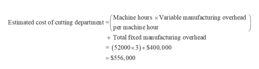 Estimated cost of cutting department =/Machine hours xVariable manufacturing overhead per machine hour Total fixed manufacturing overhead (52000x 3)+$400, 000 $556, 000