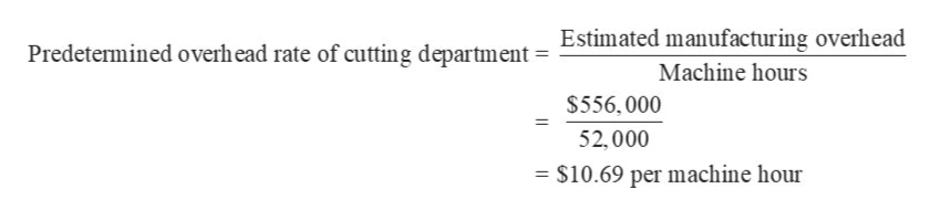 Estimated manufacturing overhead Predetermined overhead rate of cutting department Machine hours $556, 000 52,000 - $10.69 per machine hour