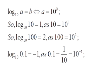 log a ba10' So,log1 10 1,as 10=10| So,log 100 2as 100 =10; 1 = 10; log 0.1=-1,as 0.1 = 10