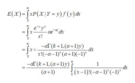 "E(x)XP(xy y)f (y) c 0 ае dх х! 0 — аГ(k +1,(а+1)у) ir = Jxx-a-1) (a+1)(-1)"" dx X 0 ar (k+1, (a+1)y) (a 1) 1 -dc (x-1)-a-1)(-1)"