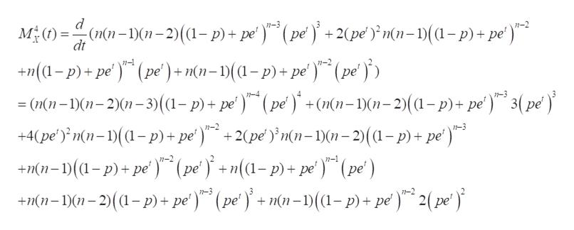 d M )(n-n-2)((1- p)+ pe) (pe' +2(pe )}mn=1)(1-p)+pe') n-3 n-2 dt +n(a-p)+pe' (pe') + mn=1)((1-p)+ pe') (pe = (n(n-1)(1-2)(1-3)(1-p) + pe') (pe)+(nn-1)(1-2)((1-p)+ pe )*° 3( p¢ ) +4(pe') n(n-(p)+ pe')+2(pe'n(n-1)(1-2)((1-p)+ pe') 7-4 1-3 n-2 +n(1-)(a-p)+pe) (pe+n(1-p)+ pe ) (pe' ) +Mn-)01-2)(a-p)+pe) (pe+mn-1)(1-p) + pe) 2(pe) n-1 n-3
