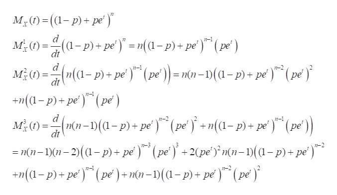"My)=((1-p)+pe (a-p) + pe) - m(a-p) + pe') (pe) M)n(a-p)pe (pe)- mn-(a-p)+ pe ) d 7-1 77 ре dt d (pe п(n dt +(a-p)+pe) (pe) ME)n-(-p) + pe) (pe+n(a-p)+ pe (pe n-1 п(п-1) dt ре ре n-2 7-3 (pe' ) +2(pe'n(n-)(1-p)+pe') =nn-1)-2)(a-p)+ pe) n- 1-2 +(p)+pe) (pe) + m(n- 1)(a-p) + pe)"" (pe)"
