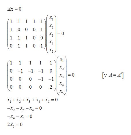 Ax 0 1 1 1 1 1 1 0 0 0 1 1 1 10 0 0 1 1 0 1 1 1 1 1 1 х, 0 -1 -1-1 0 0 0 -1 -1 ХА 0 0 0 2 x2 x4+ xg = 0 -x2-x-x 0 -x4-x 0 2xg 0