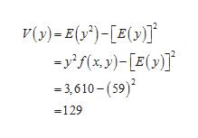 V(y)E()E( -yf(x y)-[E(y) 3,610-(59) =129
