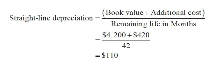 Book value Additional cost) Straight-line depreciation Remaining life in Months $4,200 $420 42 =$110