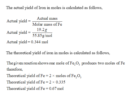 Answered: Combining 0 335 mol Fe2O3 with excess… | bartleby