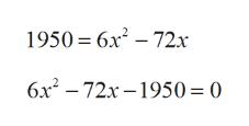 1950 6x2-72x 6x2 72x-1950= 0