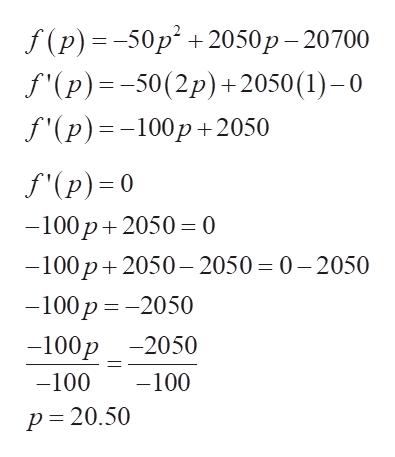 f(P) %3-50p* + 2050р - 20700 f'(p)-50(2p)+2050 (1) - 0 S(p) %--100р +2050 S(Р)-0 —100р + 2050 —0 —100р + 2050— 2050- 0—2050 -100р %3D — 2050 -100р -2050 -100 -100 р3D 20.50
