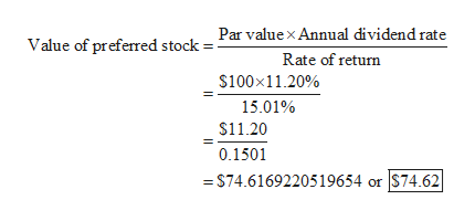 Value of preferred stock = Par value x Annual dividend rate Rate of return $100x11.20% 15.01% $11.20 0.1501 S74.6169220519654 or  S74.62 