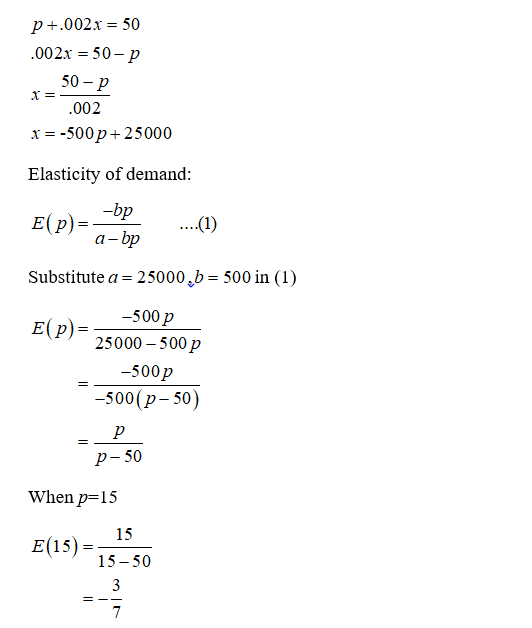 Answered Prirce Demand Equation P 002x 50 Bartleby