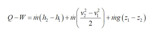 Q-W =m(h-) + m  +mg (-2) 2