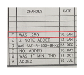 CHANGES DATE F WAS .250 E Z NOTE ADDED 16 JAN 13 JAN D WAS SAE-R-630-BHKZ 23 DEC CI NO. ADDED WAS A ADDED 16 MAY 11 OCT 1 MIN. THD 19 JUL