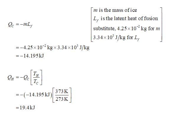 m is the mass ofice L isthe latent heat of fusion Oc =-mL substitute, 4.25x 10 kg for m 3.34x 10 J/kg for L =-4.25x 10 kgx3.34 x10 J/kg =-14.195 kJ TH =_ TC =-(-14.195k 373K 273 K =19.4kJ