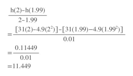 h(2)-h(1.99) 2-1.99 [31(2)-4.9(22)]-[31(1.99)-4.9(1.99)] 0.01 0.11449 0.01 11.449