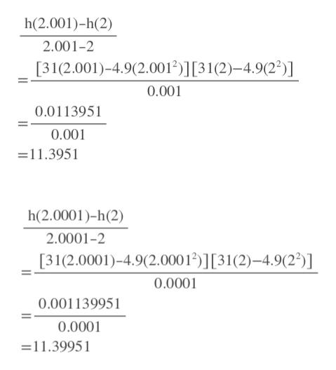 h(2.001)-h(2) 2.001-2 [31(2.001)-4.9(2.0012)] [31(2)-4.9(22)] 0.001 0.011395 0.001 - 11.3951 h(2.0001)-h(2) 2.0001-2 [31(2.0001)-4.9(2.00012)][31(2)-4.9(22)] 0.0001 0.001139951 0.0001 =11.39951
