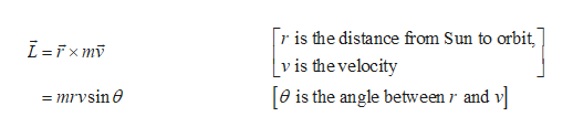 r is the distance from Sun to orbit [v is thevelocity e is the angle between r and v mrvsine