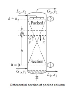 mo 2 Packed h-h... dh ' Section h 0 Differential section of packed column