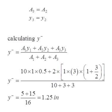 A3 A calculating y Ay, Ay+ 4 4 A A 10x1x0.5 2x 1x(3) y X1+ 10+3+3 5 15 - 1.25 in 16