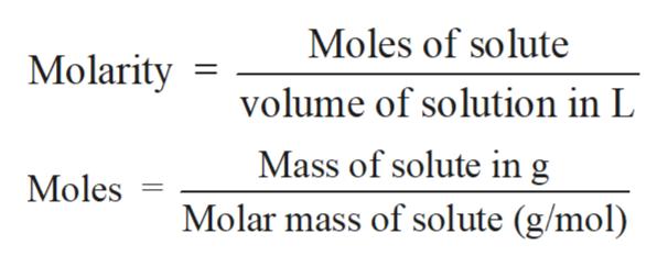 Moles of solute Molarity volume of solution in L Mass of solute in g Molar mass of solute (g/mol) Moles