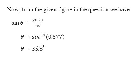 Now, from the given figure in the question we have 20.21 sin e 35 e sin(0.577) 0= 35.3