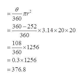 - Tr 360 360 252 x 3.14x 20 x 20 360 108 -x 1256 360 = 0.3x 1256 =376.8