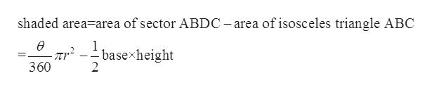 shaded area-area of sector ABDC -area of isosceles triangle ABC basexheight 2 360