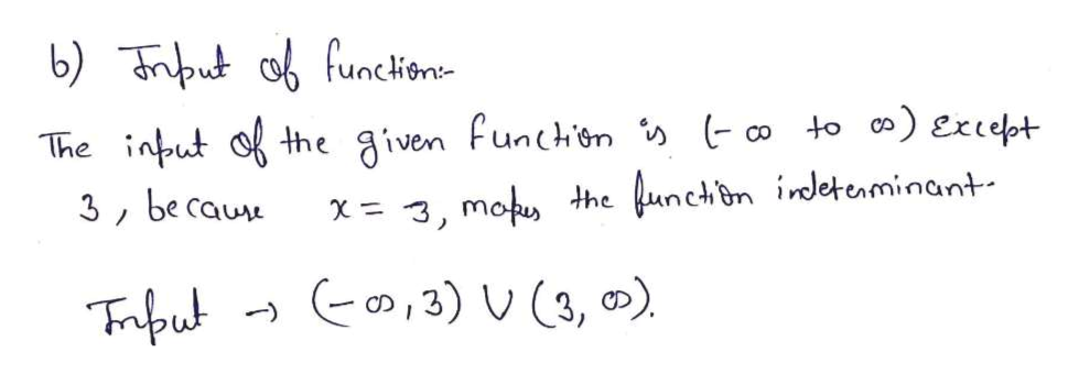 b) tfunckone The intut f the given funchen » co to ) Except hefunchon indetenminant 3 be cau X3, mot 3) U(3, )