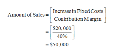 Amount of SalesIncreasein Fixed Costs Contribution M argin $20,000 40% - $50,000
