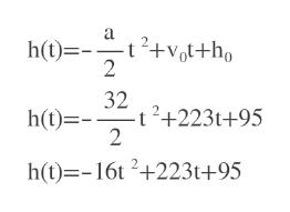 a h(t) +vh 2 32 2+223t+95 2 h(t)= h(t)-16t 2+223t+95