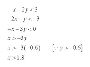 х - 2у <3 -2х - у <-3 -x-3у<0 х> -3у х> -3(-0.6) [:у>-0.6] х>1.8