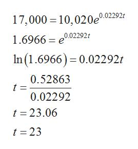 17,000 10,020e.02292 1.6966 =0.02292 In(1.6966) 0.022921 0.52863 t = 0.02292 t 23.06 t 23