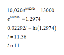 10,020e02292 13000 202292 1.2974 0.02292t 1n (1.2974) t 11.36 t11