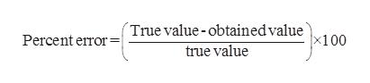 True value - obtainedvalue100 Percent error true value