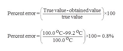 Percent errorTrue value-obtainedvalue x100 true value Percent error100.0 °C-99.2°C |x100= 0.8% 100.0 C