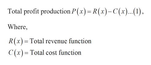 Total profit production P(x) R(x)-C(x)..(1), Where, R(x) Total revenue function C (x)= Total cost function