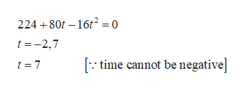 224 80 16t2 = 0 t-2,7 time cannot be negative| t 7