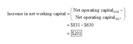 (Net operating capital201s Increase in net working capital Net operating capital017 = $831-$630 $201