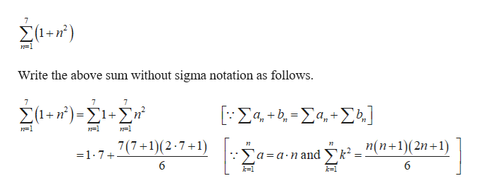Συ-r) Write the above sum without sigma notation as follows. 7 7 7 Συ-r)-ΣΣ' ΕΣ4+η-Σα, + Σ)] 7(7+1(2.7+1) п(n+1)(2n+1) = 1-7 Xa=a-nandk 6 6 k-1
