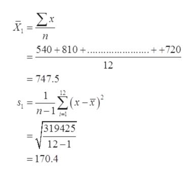 Σ п 540 810 .+ +720 12 = 747.5 12 (x-F) Σ(-3) n-1 319425 12-1 170.4