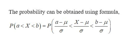 The probability can be obtained using formula - X-b- u P(a<x<b)-P