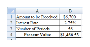 A 1 Amount to be Received S6,700 2 Interest Rate 2.75% Number of Periods 3 56 $1,466.53 4 Present Value