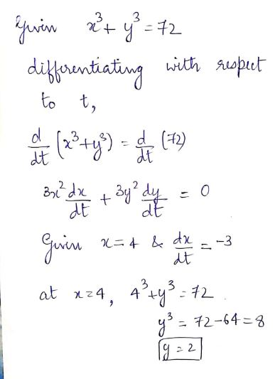 Answered: Find dy/dt when x=4 and dx/dt=-3, given…   bartleby